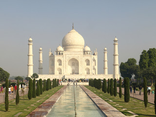 Beautiful white marble of the Taj Mahal