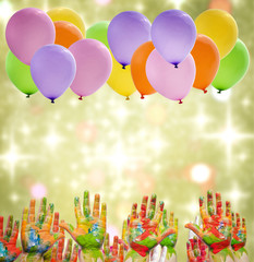 Child painted hands and balloons happy birthday party