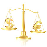 Euro outweighs Dollar on scales. poster