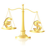 Dollar outweighs Euro on scales. poster