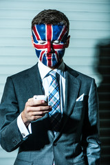 Stylish young man with emblem of Great Britain.