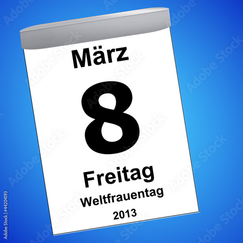 Leinwandbild Motiv Kalender auf blau - 08.03.2012 - Weltfrauentag