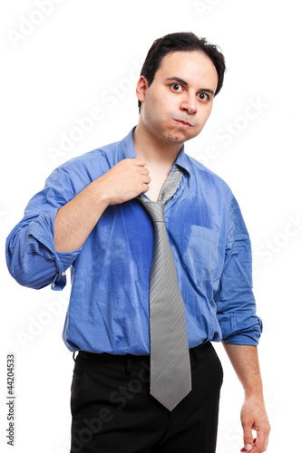 Businessman sweating isolated on white
