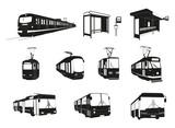 Transport miejski - duży zestaw wektorowy