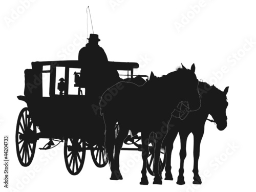 Silhouette of two horses and coach with coachman
