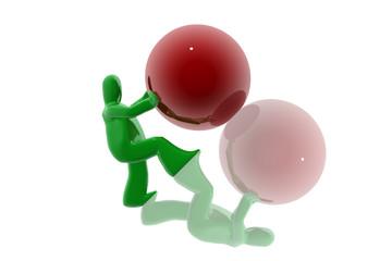 Figura empujando esfera