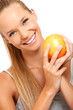 closeup portrait of a healthy woman with fruit
