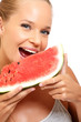 closeup portrait of a healthy woman with melon