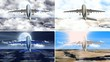 Airplanes flying at different times and weathers