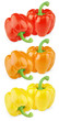 Set of colorful sweet peppers