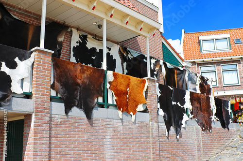 Tanned hides on the balcony of the leather shop in Volendam. Net