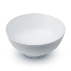White ceramic bowl on white background