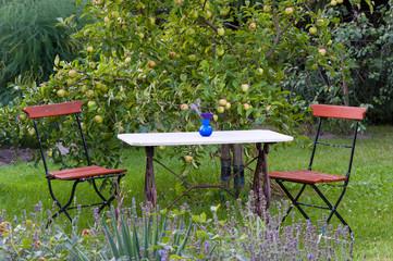 Klassischer Gartentisch und Stühle