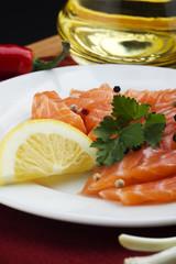 salmon on white plate