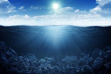 Sky, waterline and underwater background