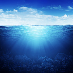 Sky, waterline and underwater background