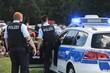 Leinwandbild Motiv Polizisten im Einsatz
