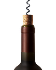 corkscrew with a bottle of wine isolated on a white background