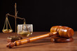 judge gavel , balance and money