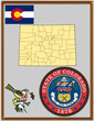 USA state Colorado flag map coat bird