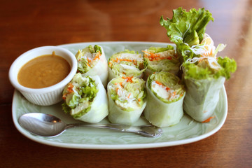 Delicious vegetarian spring rolls with tofu