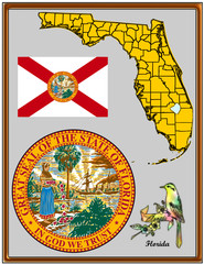 USA state Florida flag map coat bird