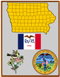 USA state Iowa flag map coat bird