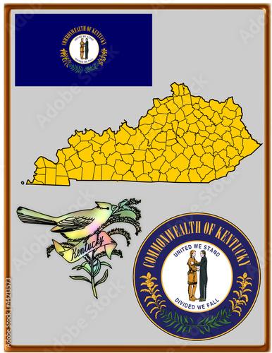 USA state Kentucky flag map coat bird
