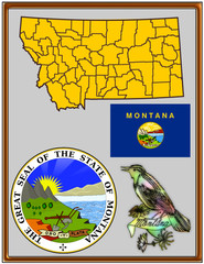 USA state Montana flag map coat bird