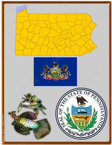 USA state Pennsylvania flag map coat bird