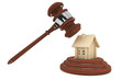 Justice Gavel with wooden House
