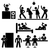 Fototapety Disco Pub Night Club Bar Party Icon Symbol Sign Pictogram
