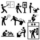Bad Morale People Vandalism Gangster Icon Symbol Sign Pictogram poster