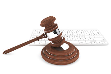 Justice Gavel and keyboard