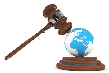 Justice Gavel with Earth Globe