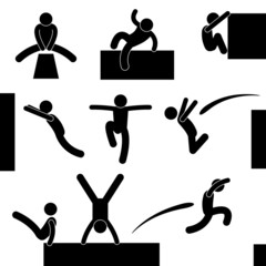 Parkour Man Jumping Climbing Leaping Acrobat Pictogram