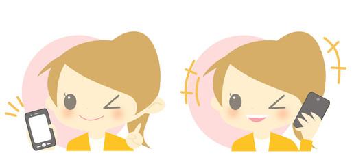 スマートフォンと女の子