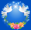 Two doves and roses