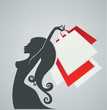 vector background with image of happy girl and shopping bag