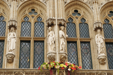 Realistic gothic statues of medieval kings