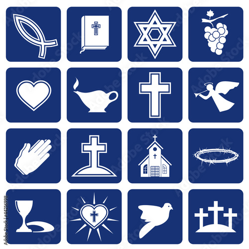 set of vector icons of religious christianity