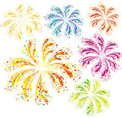 Brightly colorful fireworks isolated on white background