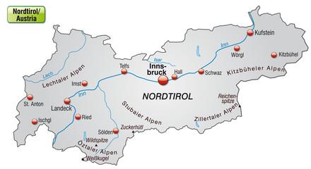 Karte von Tirol mit Hauptstädten