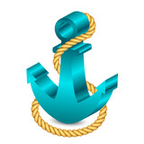 Vector 3d illustration of anchor with rope