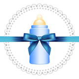 Vector background with napkin, baby bottle and bow