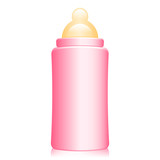 Vector illustration of pink baby bottle