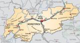 Landkarte von Tirol mit Nachbarländern