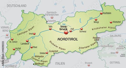 Umgebungskarte von Tirol mit Hauptstädten