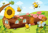 honey bees and wooden house