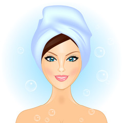 Vector illustration of girl in bathroom / spa